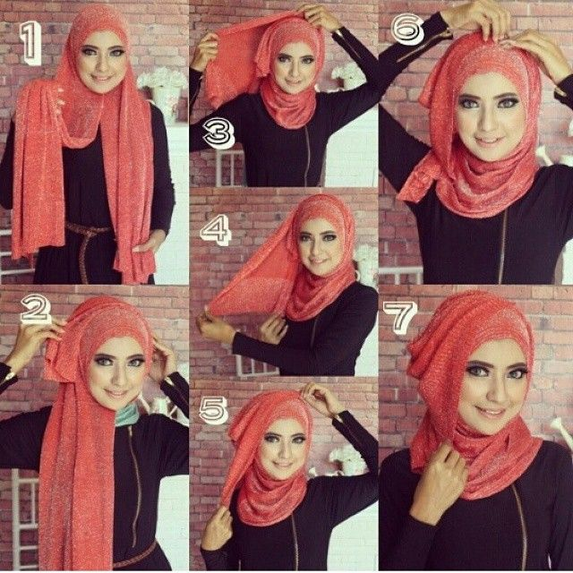 This gorgeous Hijab tutorial looks amazing for special occasions, the hijab is so beautiful and would suit anyone's face shape. The steps for this tutorial are as follow: 1. Place the hijab on your head with equal sides and pin…