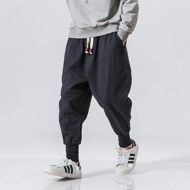 Men Casual Solid Sports Pants Linen Trousers Elastic Waist Haren Pants Plus Size