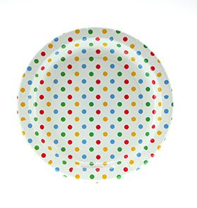 24 Sambellina Polka-dot Rainbow Coloured Paper Plates - included in Baby Shower Party Pack $115.00 www.strawberry-fizz.com.au