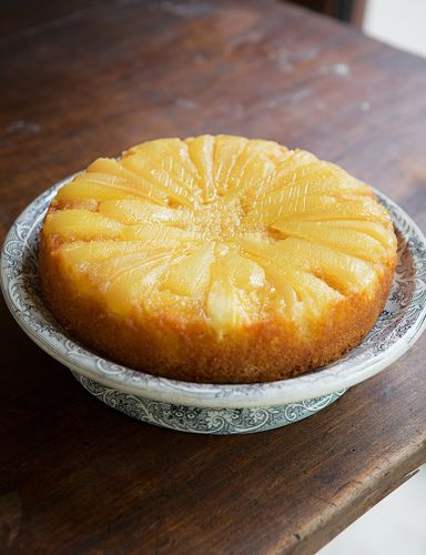 Pear & Vanilla Upside-Down Cake by former GBBO contestant James Morton. Pear and vanilla work together fantastically in this cake to create a traditional yet contemporary bake.