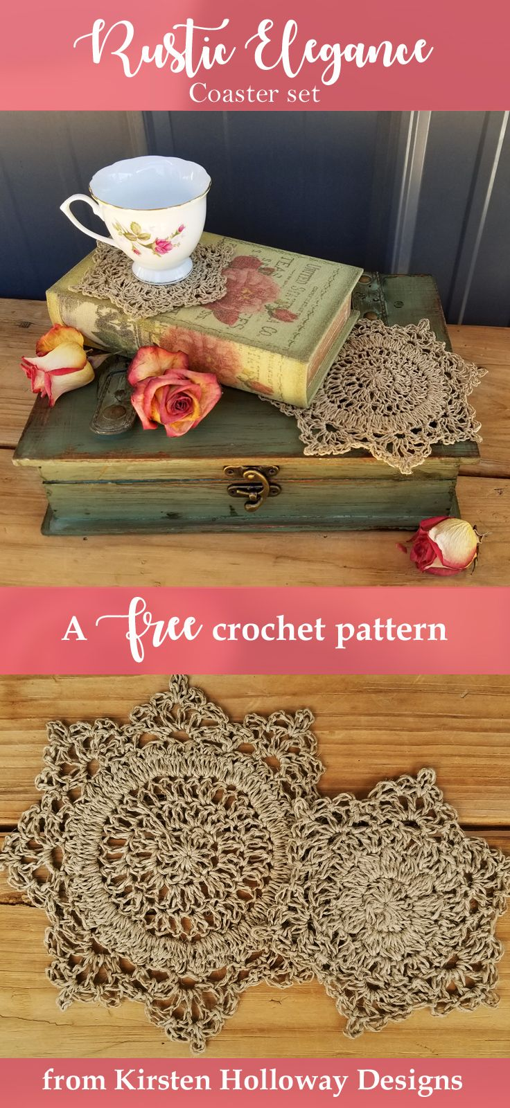 DIY home decor at its finest! Spice up your next picnic, holiday potluck, or upcoming wedding reception with the free Rustic Elegance set. There is a smaller coaster for cups, and a slightly bigger doily for setting candy or sauce dishes on. These crochet coasters are quick and easy to make, and use only a small amount of hemp each.