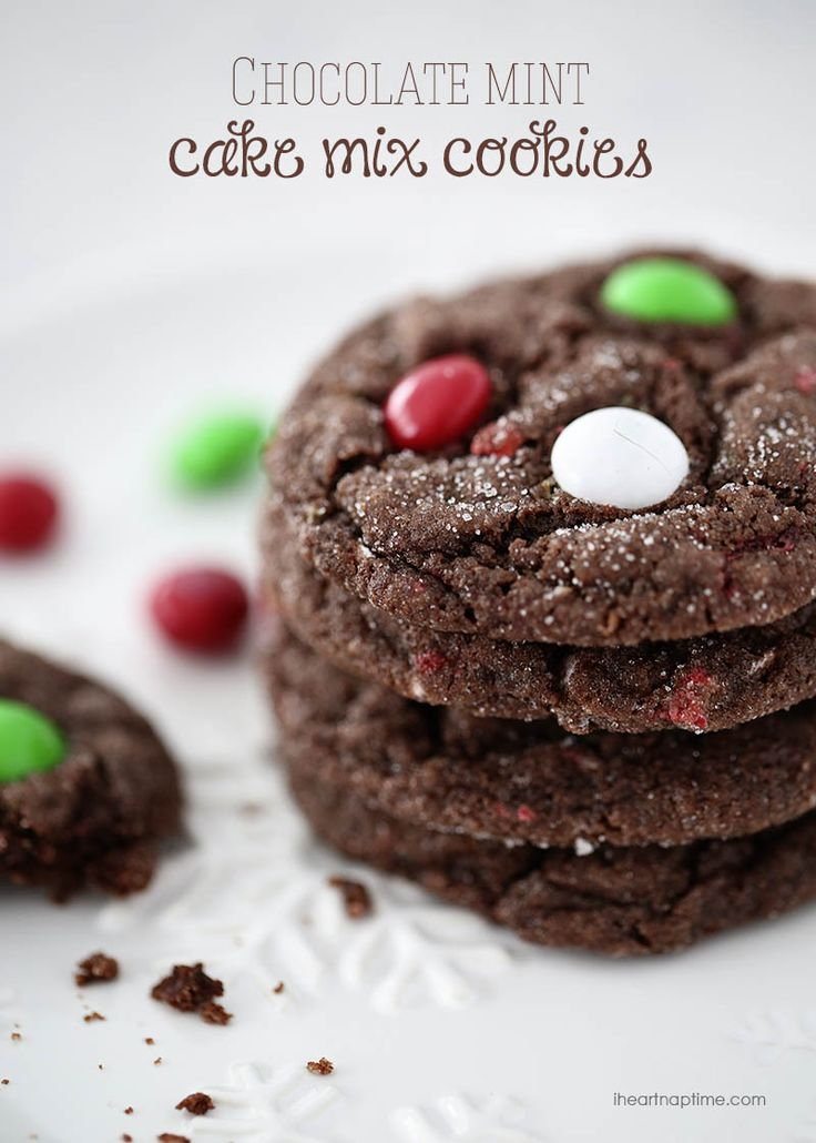 Chocolate mint M&M cake mix cookies -easy and delicious!
