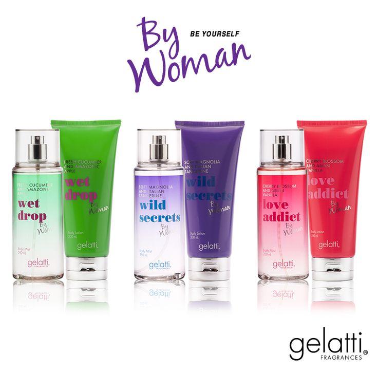 Linea Gelatti By Woman Body Mist y Body Lotion en sus tres aromas:  - Wet Drop - Wild Secret - Love Addict