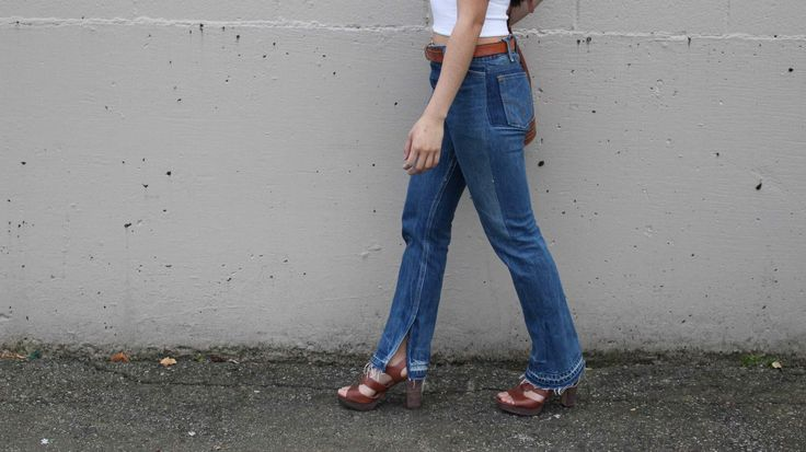 Fun details: Superimposed back pockets...Reconstructed vintage Levi's at www.thatsewcute.com