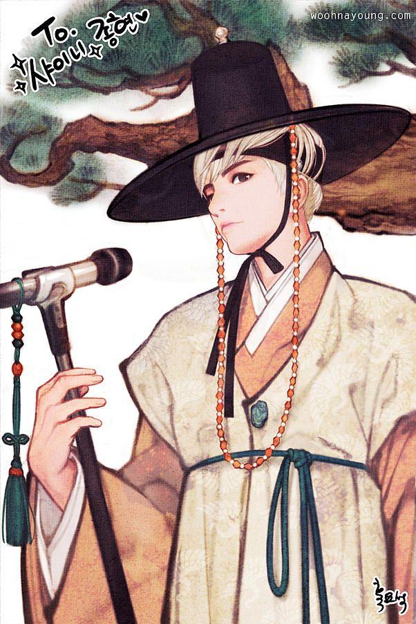 한복 Hanbok : Korean traditional clothes[dress] | WOOHNAYOUNG[#흑요석] — #SHINee '#Jonghyun' in Hanbok 샤이니 종현 한복 Digital...
