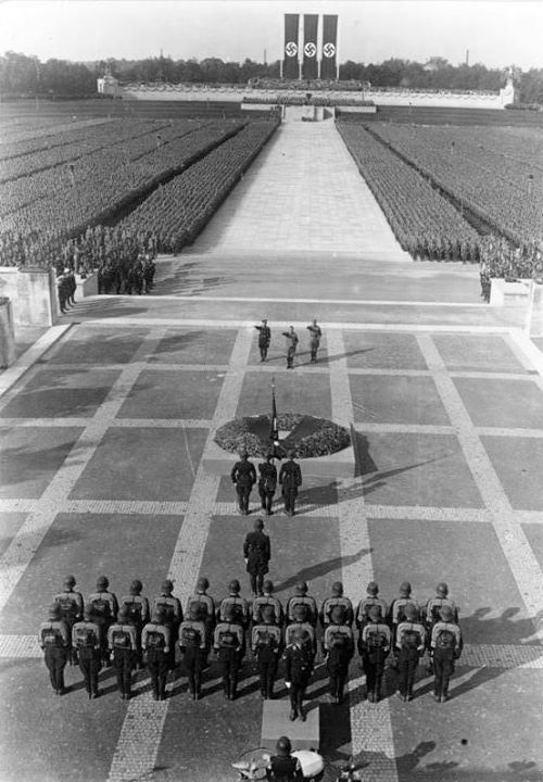 Ceremony honouring the dead (Totenehrung) on the terrace in front of the Hall of Honour (Ehrenhalle) at the Nazi party rally grounds Nuremberg September 1934