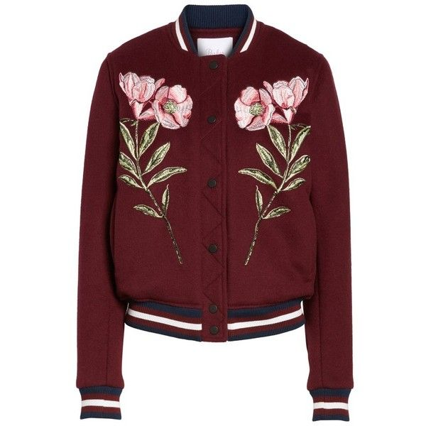 Women's Parker Pacifico Jacket ($628) ❤ liked on Polyvore featuring outerwear, jackets, elixir, red varsity jacket, letterman jacket, red letterman jacket, college jacket and varsity jacket