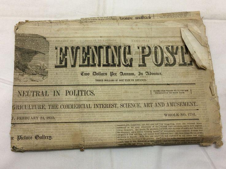 Vtg February 24, 1855 The Saturday Evening Post Newspaper Philadelphia Foreign &
