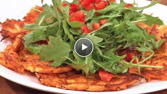 Rosti van zoete aardappel met geitenkaas - recept | 24Kitchen