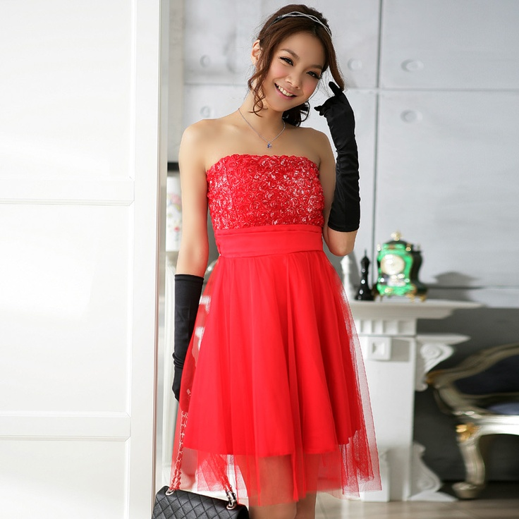 2012 New Slim Party Dress Satin gauze rose flower pattern one size Red     $23.90