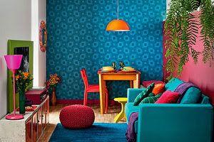 Amei essa sala toda colorida, trazendo mais alegria, mais vida para o ambiente!