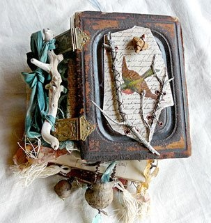 Amazing altered book by Nina Bagley Take her workshop this summer in the Blue Ridge Mountains of North Carolina! It is a jewelry / book arts class. www.cullowheemountainarts.org