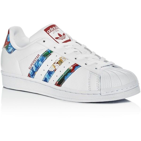 Adidas Women's Superstar Lace Up Sneakers (100 CAD) ❤ liked on Polyvore featuring shoes, sneakers, zapatos, white, lace up shoes, lace up sneakers, leather sneakers, white leather trainers and white lace up shoes