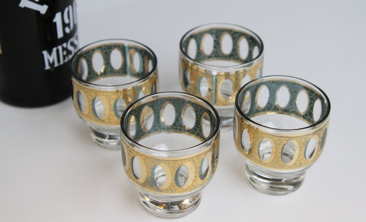 4 Culver Antiqua Glasses // 22k Gold with Emerald Green // Mid-Century Barware.