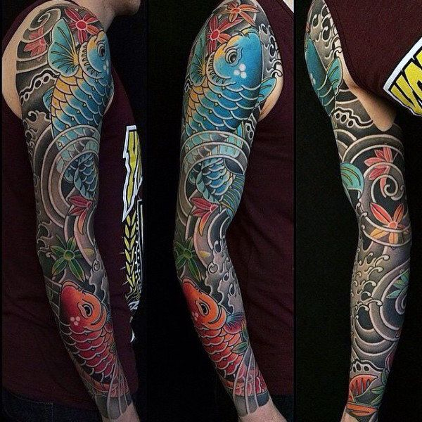 Koi Fish Guys Unique Japanese Sleeve Tattoo