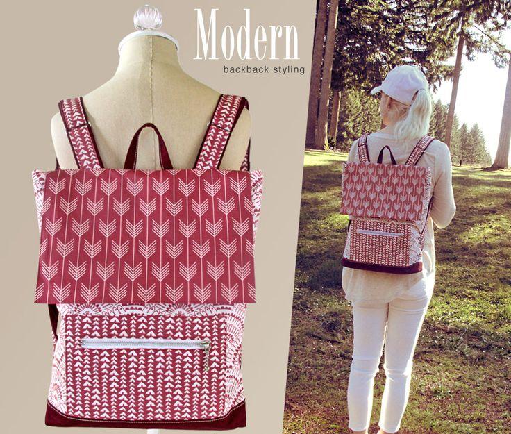 Lightweight, Designer Backpack made in Hawthorne Threads digitally printed Marsala fabric | Sew4Home
