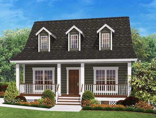 Picture Of House With Porch Across Front And White Railing | Small