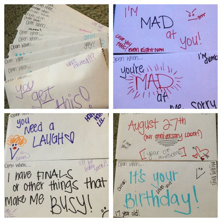 Open When letters:) I'm leaving for college and gave them ...