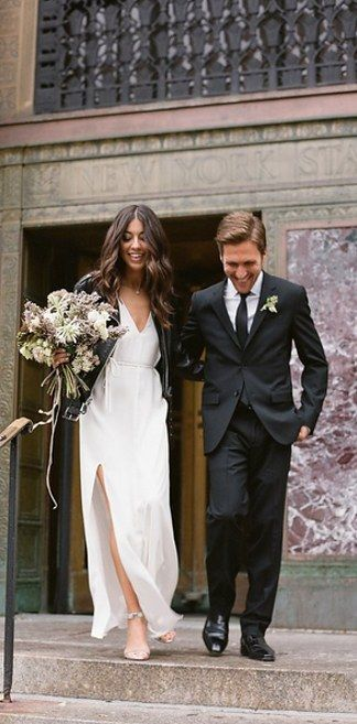 29 City Hall Weddings That Prove Less Is More. Love the leather over the dress!