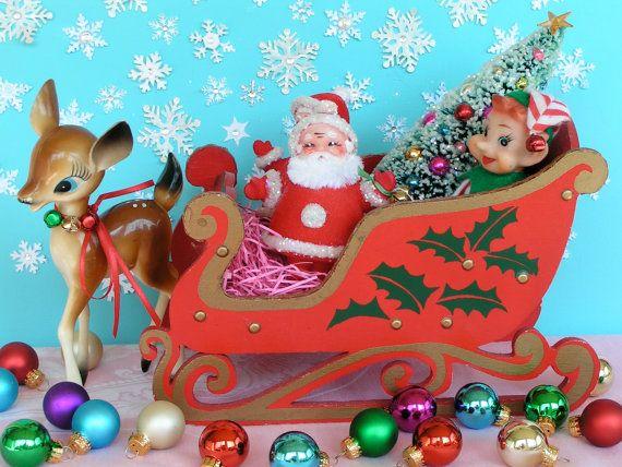 Vintage Christmas Santa and Reindeer Sleigh by etsy seller: KittyKatDance, $52.00
