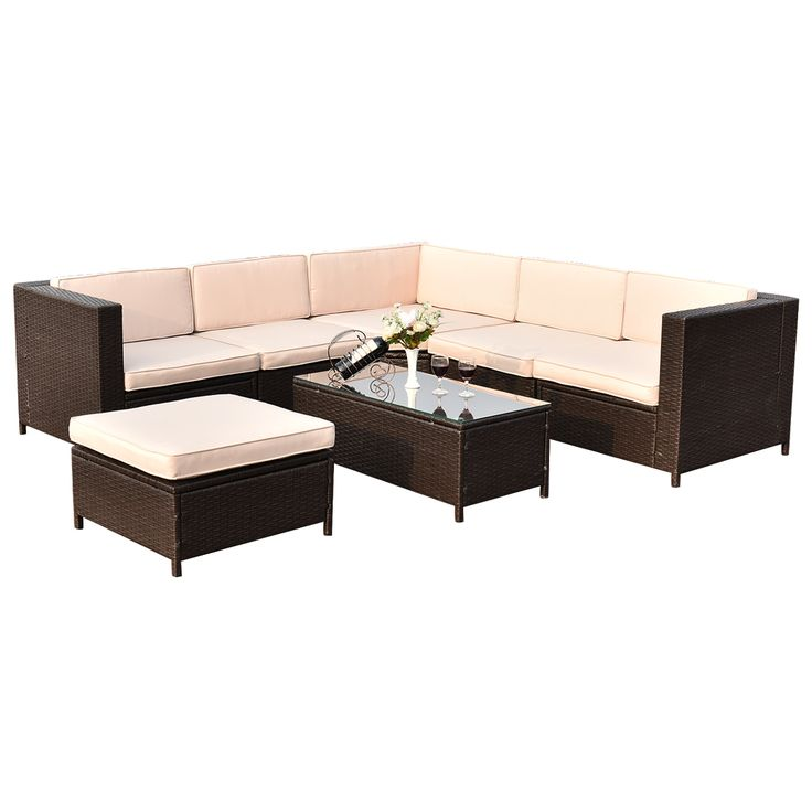 7 pcs Outdoor Rattan Wicker Furniture Set with Rectangle Coffee Table