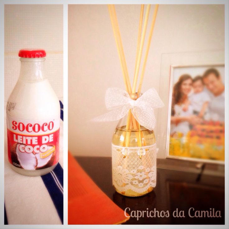 Difusor de ambiente com vidro de leite de coco. Reciclando S2