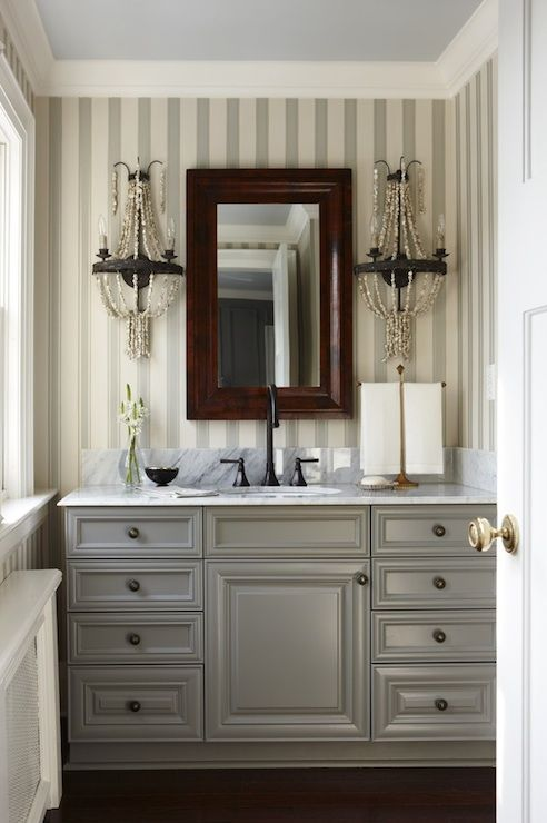 Gray bathroom vanities, Sarah richardson and Gray bathrooms on