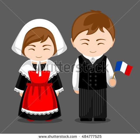 French people in national dress with a flag. Man and woman in traditional costume. Travel to France. Vector flat illustration.