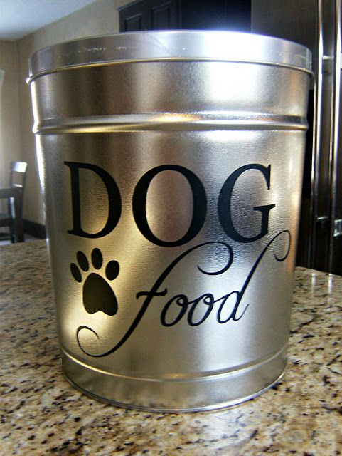 Dog Food Container painted Christmas popcorn tins for dog food-(CAT in my case)
