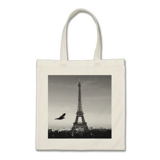 Eiffel Tower, Paris, France Tote bag. Black and White