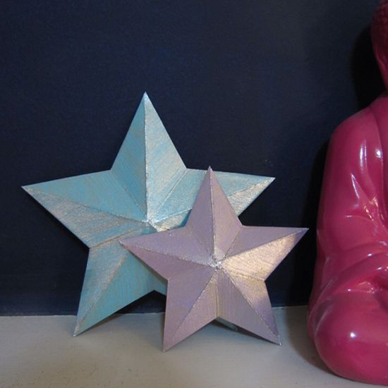 3D stars from cereal boxes-- ideas for crafts from recycled items