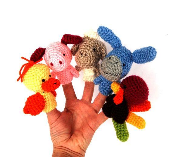 tiny amigurumi puppets, duck, turkey, sheep, donkey and pig, miniature farm animals, waldorf style, crocheted pet    These animal finger puppet set