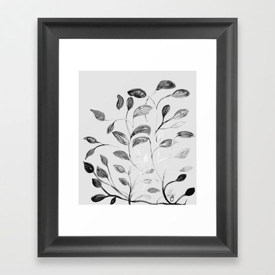 Red and Green Leaves! Romantic Silver Grey! Framed Art Print by ANoelleJay   Society6