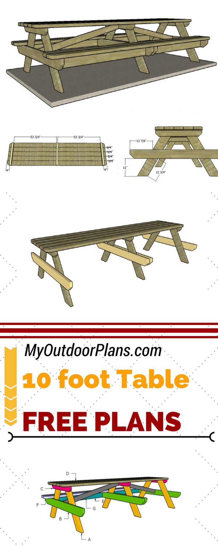 40 best images about free table plans on pinterest for 10 ft picnic table