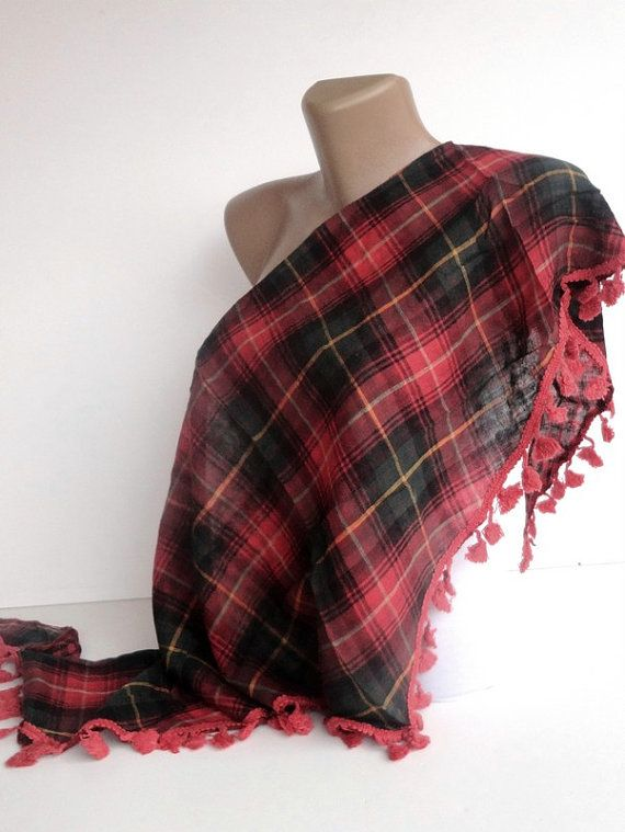 red green girly plaid scarf , women accessory , NEW scarf trends , gifts for her. $24.50, via Etsy.