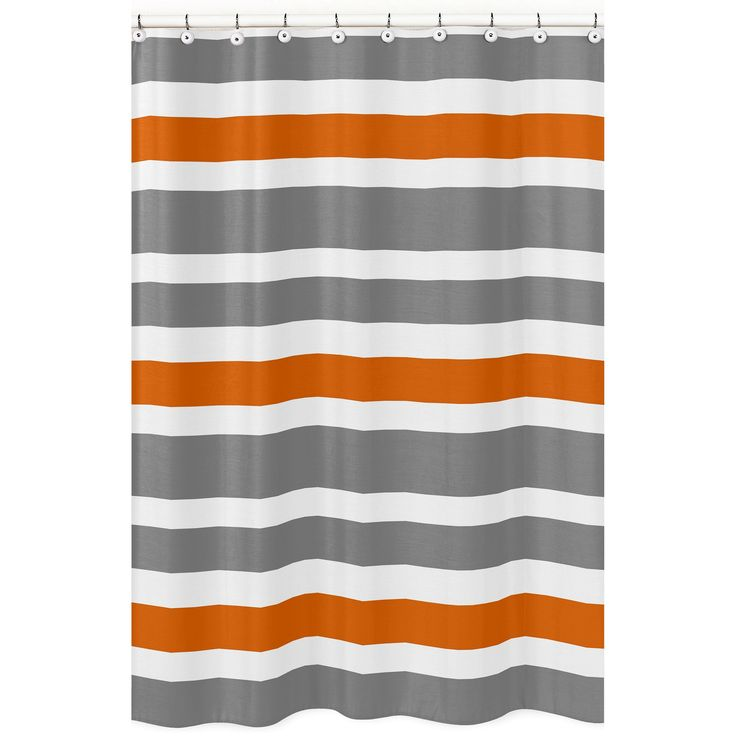 Give your bathroom a makeover in minutes with this orange, grey, and white stripe shower curtain. Add citrus style to your bathroom decor when you hang this shower curtain. This curtain is made from 1
