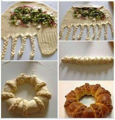 Stuffed challah. In Russian but the pictures make it easy. Snail and other shapes also.