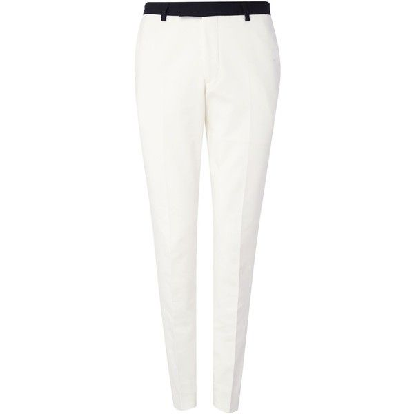 Noose and Monkey Everton Suit Trousers (€74) ❤ liked on Polyvore featuring men's fashion, men's clothing, men's pants, men's dress pants, mens white dress pants, mens lined pants, mens cotton pants, mens white pants and mens skinny dress pants