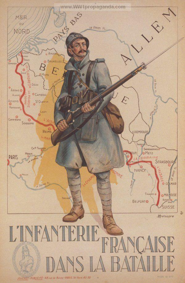 """L'infanterie française dans la bataille.""  French WW1 Propaganda Poster (http://www.ww1propaganda.com/world-war-1-posters/french-ww1-propaganda-posters?page=48)"