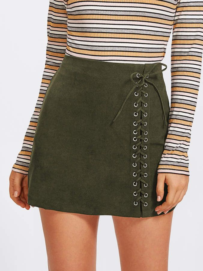 58f1e7e2c2772 Grommet Lace Up Detail Skirt   *** Outfit Ideas*** in 2019   Skirts ...