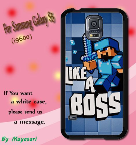 Minecraft Creeper Blue Like a Boss Print On Hard Plastic For Samsung Galaxy S5 , Black Case  Description:  Create special case by using your favorite photos or thoughts to inspire and motivate you eve
