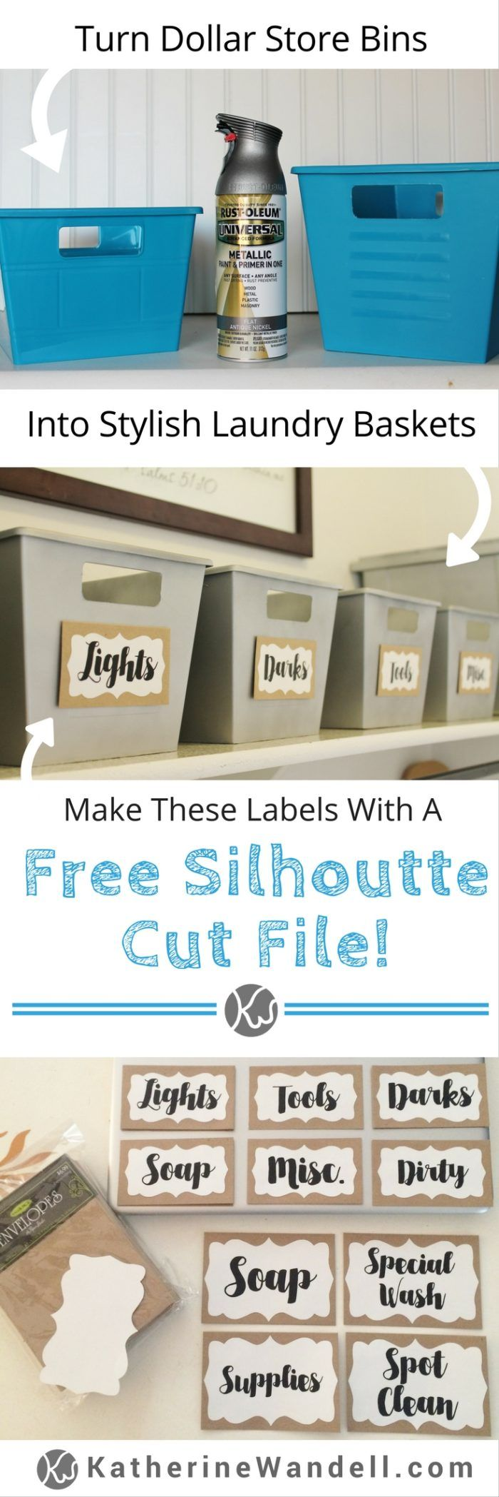Dollar Store Bin Makeover! Turn those ugly dollar store bins into stylish laundry room storage organization! There's even a free silhouette cut file to make the laundry room labels! -katherinewandell.com