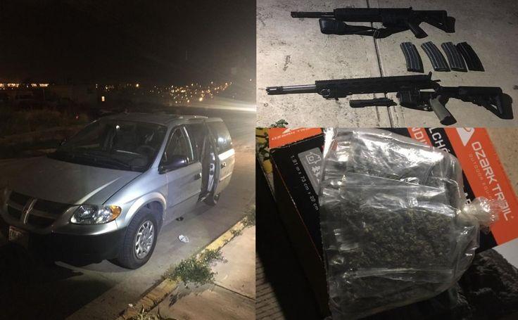 <p>Chihuahua, Chih.- La Fiscalía General analiza el vehículo y las armas de fuego, aseguradas esta madrugada por Elementos de la Agencia Estatal