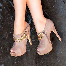Mujer Dorado cadenas Botas De Plataforma zapatos punta abierta Botines