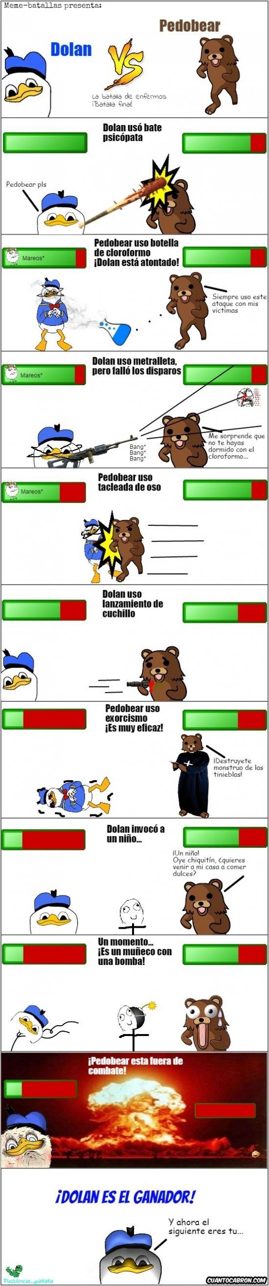 Pedobear vs Dolan: el enfrentamiento final        Gracias a http://www.cuantocabron.com/   Si quieres leer la noticia completa visita: http://www.estoy-aburrido.com/pedobear-vs-dolan-el-enfrentamiento-final/