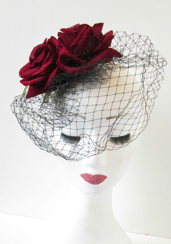 Vintage Deep Red Rose Birdcage Veil Fascinator Headpiece Races 1940s Black P29
