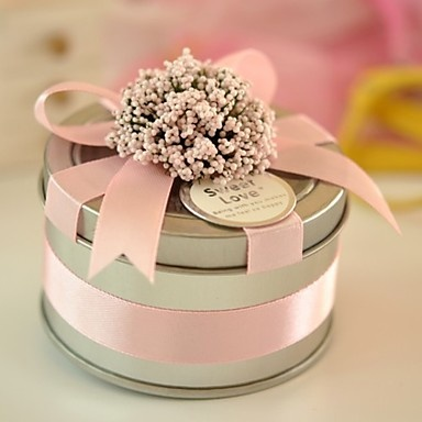 Round Metal Favor Tin With Ribbon - Set of 6 - (More Colores) – USD $ 9.29