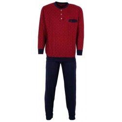 Donkerrode top op heren pyjama met donkere broek