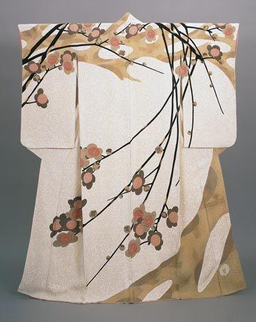 """Kako Moriguchi """"Early Spring"""", kimono, yuzen dyeing on crepe silk 1955. The…"""