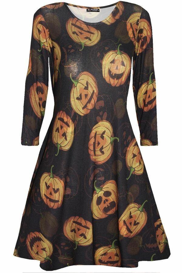 662e796057f9 Womens Halloween Heart Skeleton Bone Costume Skull Smock Swing Ladies Mini  Dress